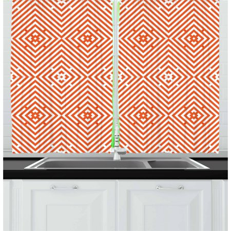 Burnt Orange Curtains 2 Panels Set, Rhombuses in Bullseye Pattern with Herringbone Zigzag Stripes, Window Drapes for Living Room Bedroom, 55W X 39L Inches, Burnt Orange and White, by - Herringbone Brick Pattern