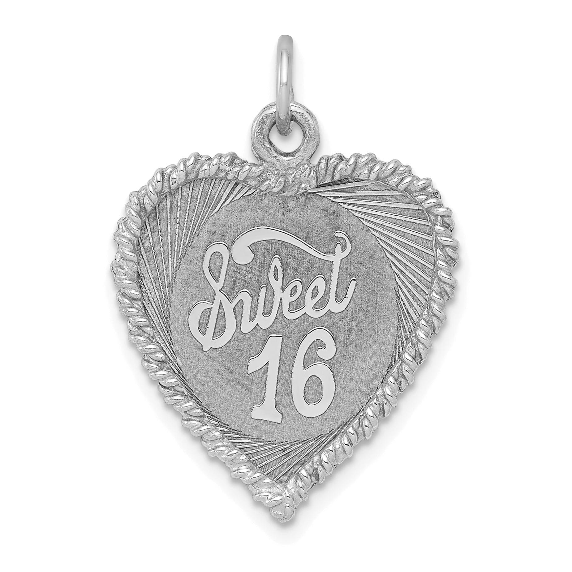 0e38720809c1 925 Sterling Silver Sweet Sixteen Girl 16 Birthday Disc Pendant ...