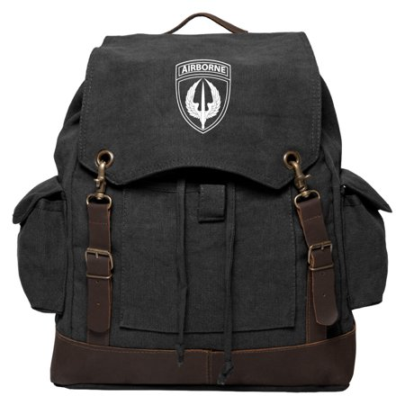 Army Force Gear Air Borne Vintage Canvas Rucksack Backpack With Leather Straps
