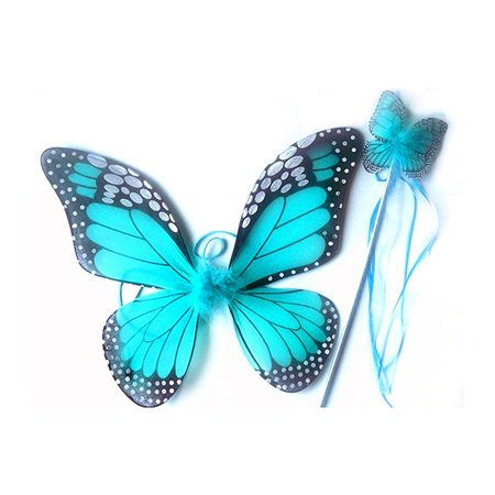 Costume Accessory Turquoise Monarch Children Butterfly Wings and Wand 2pc Set