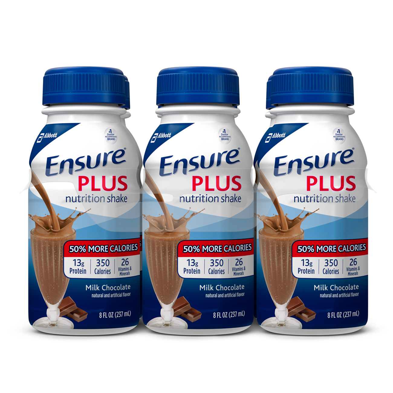 Ensure Plus Nutrition Shake, Milk Chocolate, 8 fl oz (Pack of 6 ...