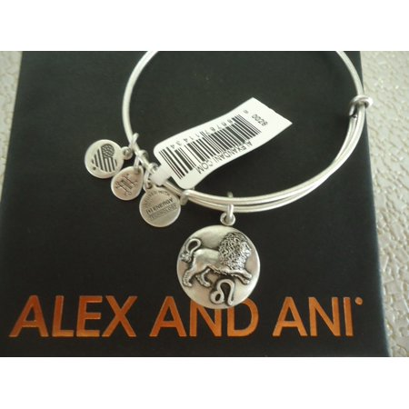 Alex And Ani Leo Iii Russian Silver Charm Bangle New Withtag Card   Box