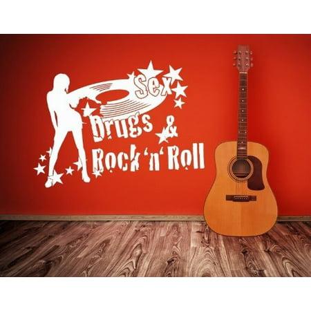 Rock 'n' Roll Wall Decal - Music Wall Sticker, Musical Vinyl Wall Art, Home Decor, Melody Wall Mural - 3793 - Copper, 47in x 32in (Rock N Roll Home Decor)