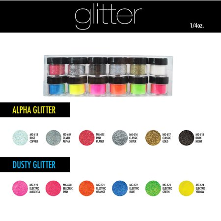 Mia Secret Acrylic Nail Powder 12 Colors Alpha & Dust Glitter Collection + Free Temporary Body