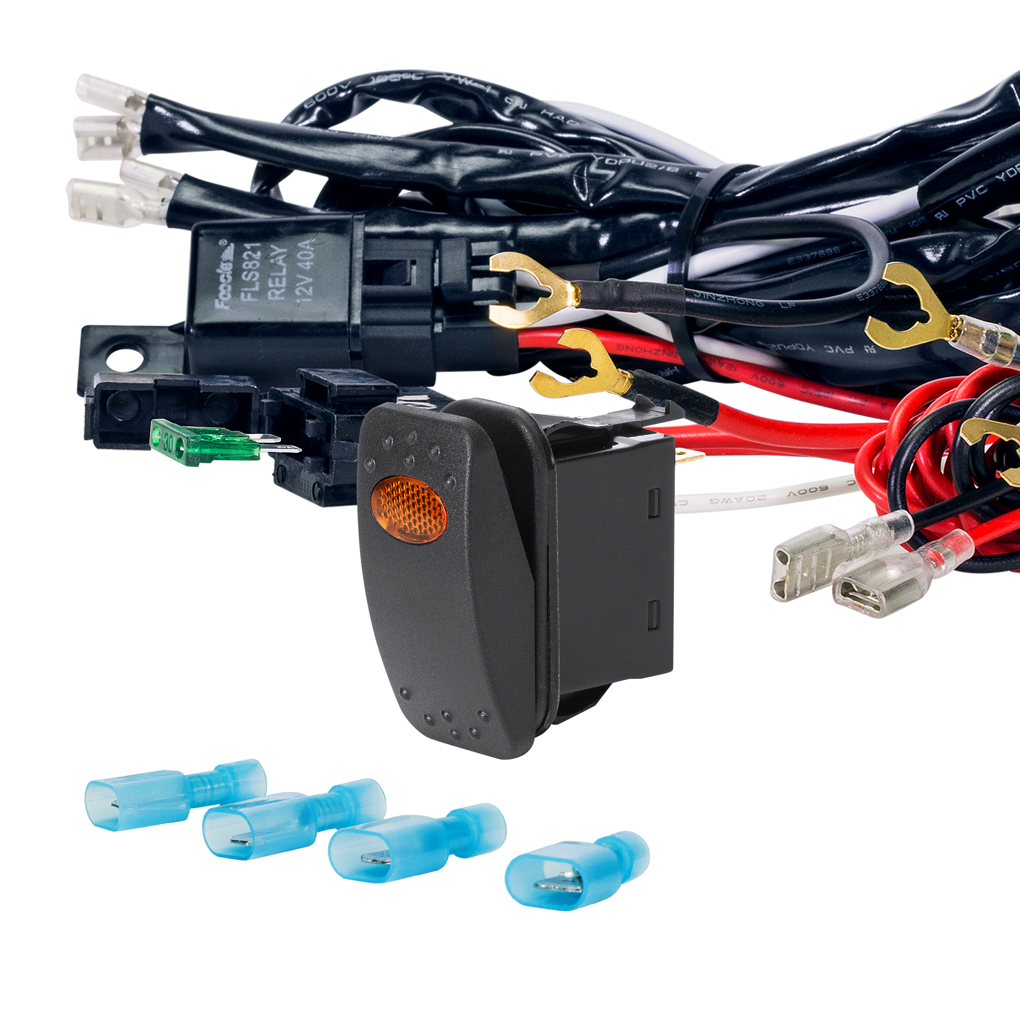 LAMPHUS ORWH03 Off Road Light Bar Wiring Harness Set - AMBER On/Off Switch