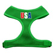 Mirage 70-43 LGEG USA Star Soft Mesh Dog Harness Emerald Green Large