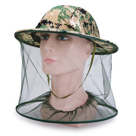 Outdoor Mosquito Head Net Hat Sun Hat with Mesh Face Mask Protection