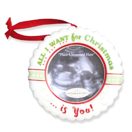 Christmas Ultrasound Ornament All I Want For Is You Baby Picture Frame Album For Women
