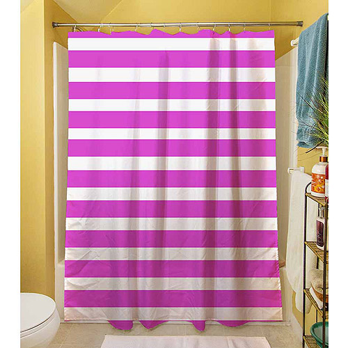 "Thumbprintz Bright Stripes Pink Shower Curtain, 71"" x 74"""
