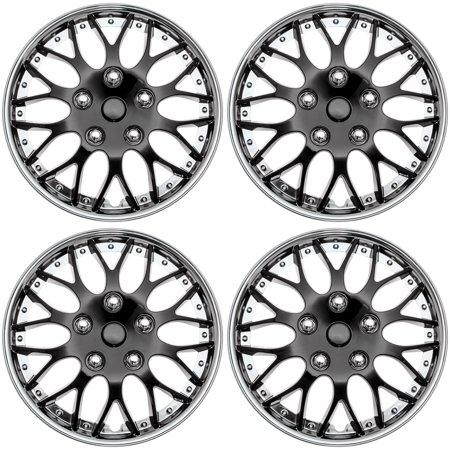 "Cover Trend (Set of 4), Aftermarket, 15"" Shiny Black W/ Chrome Trim Hub Caps Wheel Covers"