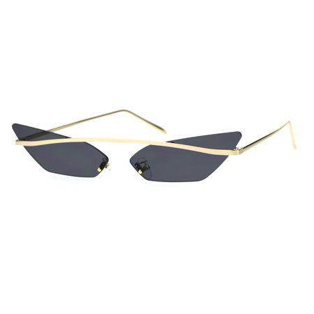 Womens Narrow Half Top Bridge Rim Rimless Cat Eye Sunglasses Gold Black Rimless Half Eye