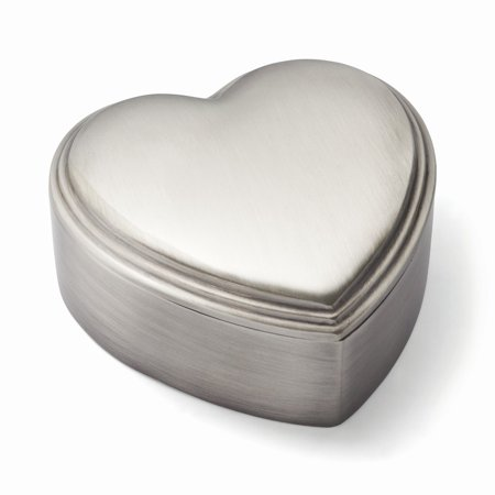 Pewter-tone Finish Heart Jewelry Box - Engravable Personalized Gift Item