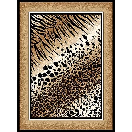 Creative Home Safari Area Rugs - 4252-90 Animal Prints Bordered Safari Tiger Leopard Rug 5