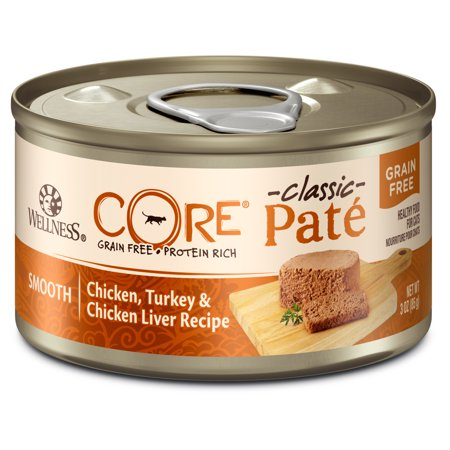 Wellness CORE Natural Grain Free Wet Canned Cat Food, Chicken & Turkey, 3-Ounce Can (Pack of 12)