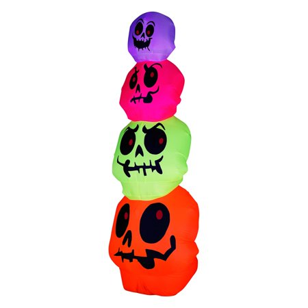 Gemmy Airblown 8 ft. Skulls Stack Inflatable - Gemmy Halloween Life Size