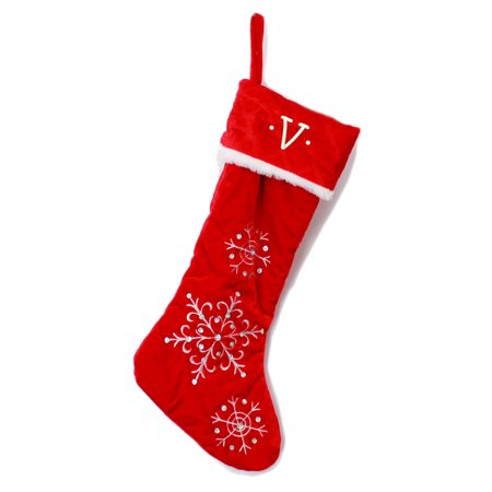 Monogrammed Christmas Stocking, Red Quilted with Snowflakes with Kids Embroidered Initial - Monogrammed Stocking