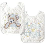 Tobin Baby Bibs Stamped Cross Stitch Kit, Bear & Angel, Set of 2