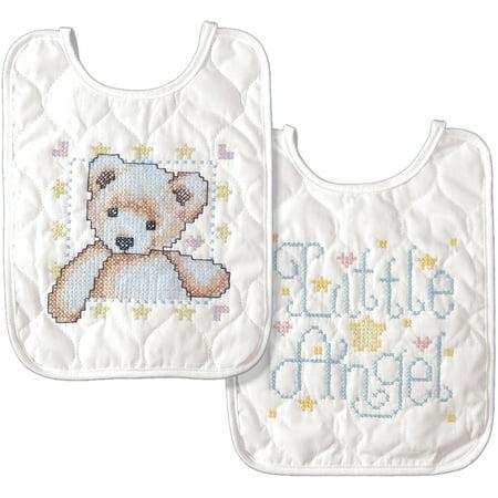 Tobin Baby Bibs Stamped Cross Stitch Kit, Bear & Angel, Set of 2 (Cross Stitch Big)