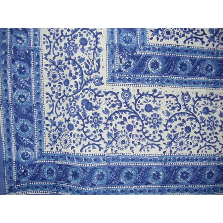 Rajasthan Block Print Square Cotton Tablecloth 60