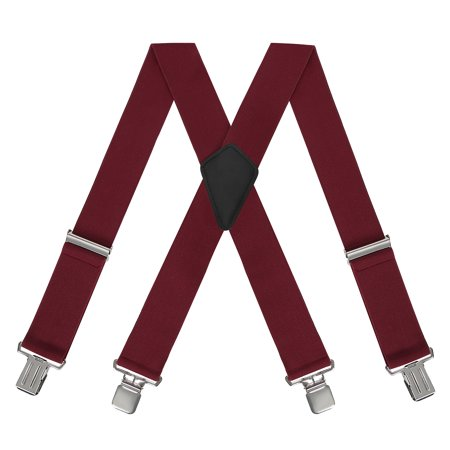 HDE Men's Heavy Duty Work Suspenders X-Back Utility Braces 2 Inch Wide Red