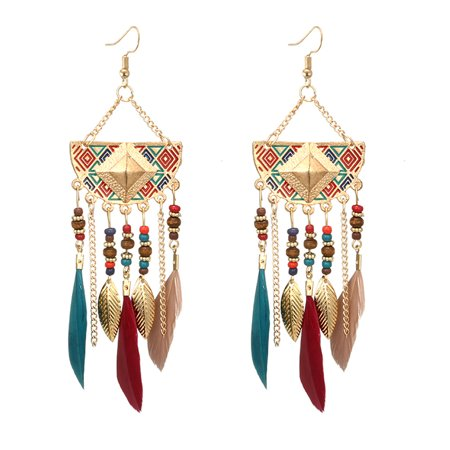 Iuhan Women Bohemian Fan-shaped Beaded Tassel Feather Earrings