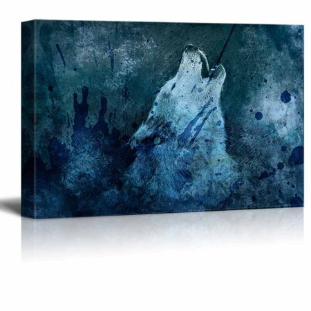 wall26 - Animal Theme Canvas Wall Art - Howling Wolf on Vintage Abstract Background with Color Splash - Giclee Print Gallery Wrap | Modern Home Decor Stretched & Ready to Hang - 24x36 inches (Abstract Animal Art)