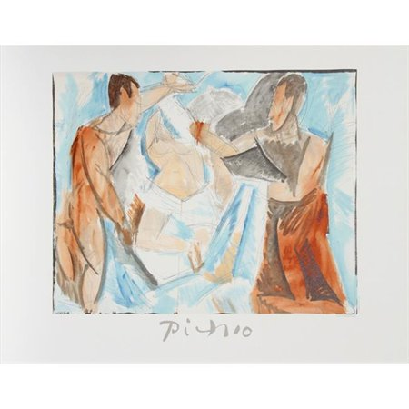 Pablo Picasso 14471 Etude de Personnages, Lithograph on Paper 29 In. x 22 In. - Blue, Orange, Beige, Gray, Black, White
