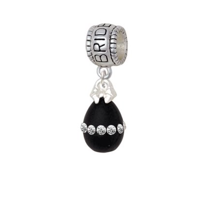 Easter Egg Bead - Black Easter Egg with Clear Crystal Band - Bridesmaid Charm Bead