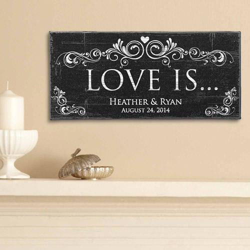 "Personalized 5"" x 11"" ""Love Is"" Canvas"