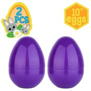 Playoly 2 Jumbo 10-Inch Purple Easter Eggs - The Perfect Size For Holding Toys, Candy Bars, And Stuffed Animals - Easy To Open, Tough To Break - Great As Party Favors And Easter Basket Stuffers