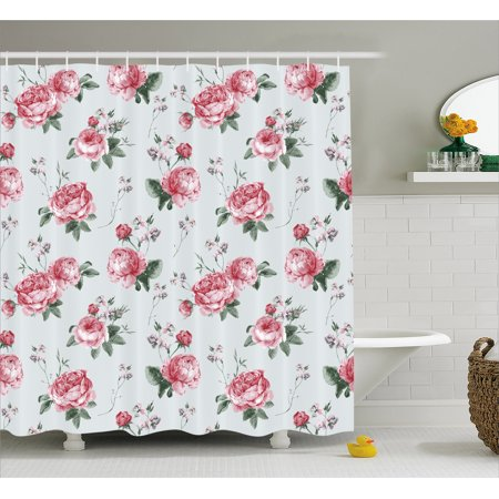 Rose Shower Curtain Blooming English Watercolor Painting Style Garden Shabby Chic Wild Flowers