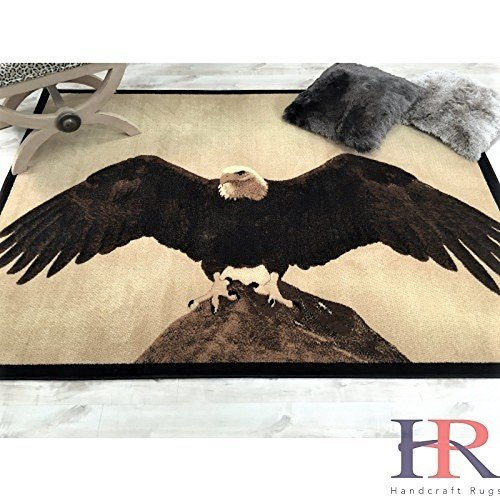 Lodge, Cabin Nature and Animals Area Rug - Nature Pattern Cabin Area Rug - Abstract, Chocolate/Beige-Eagle on Mountain Top