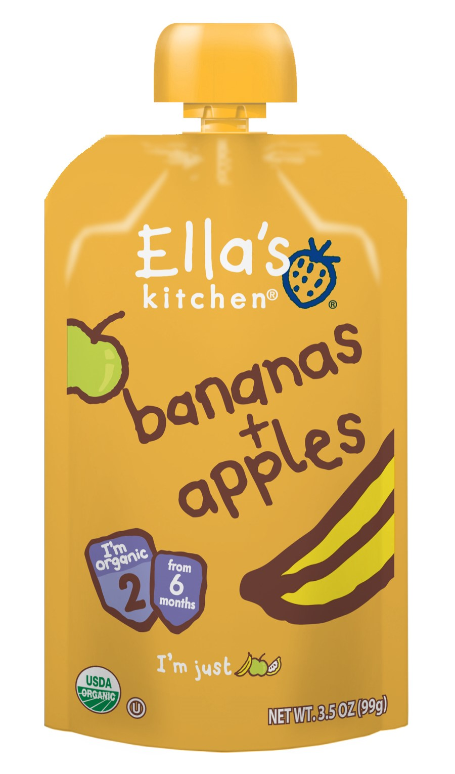 (6 Pack) Ella's Kitchen 6+ Months Organic Baby Food, Bananas + Apples, 3.5 oz