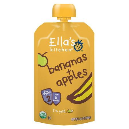 (Ella's Kitchen 6+ Months Organic Baby Food, Bananas + Apples, 3.5 oz. (Pack of 6))
