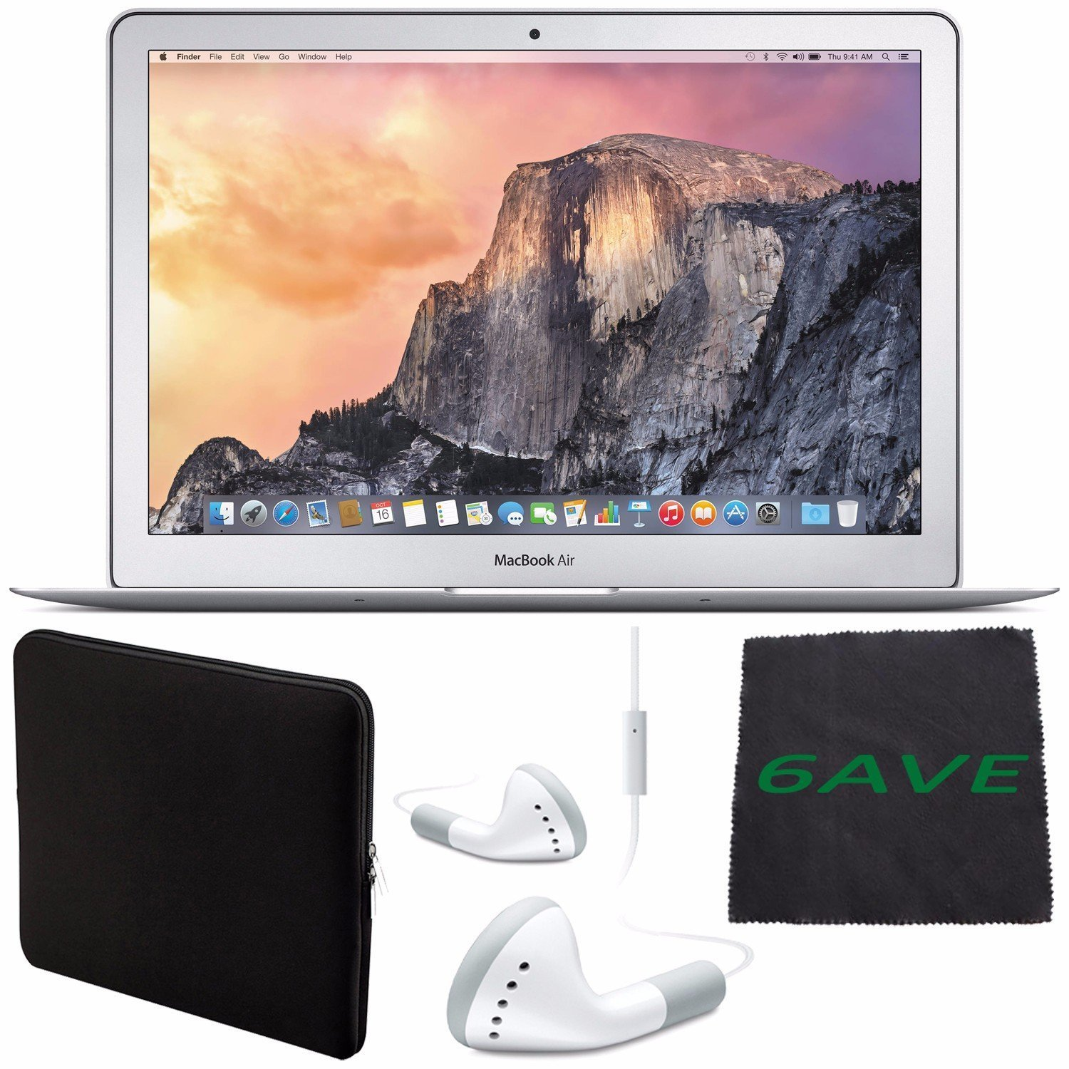 """6Ave Apple 13.3"""" MacBook Air Laptop Computer 256GB #MMGG2LL/A + White Wired Earbuds Headphones + Padded Case For Macbook + Fibercloth Bundle"""