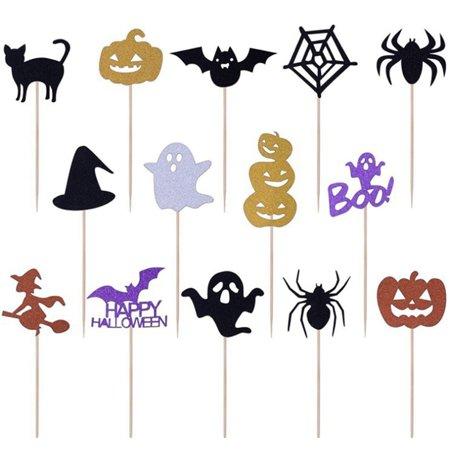 Cake Decorations For Halloween To Make (KABOER  Cartoon Halloween Ghost Bat Pumpkin Cat Witch Cake Cupcake Topper Picks Halloween Party Decoration Supplies)