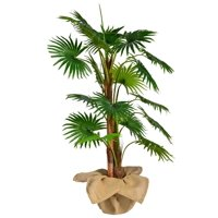 "48"" Tall Fan Palm Tree Artificial Indoor/ Outdoor Faux Dcor with Burlap Kit By Minx NY"