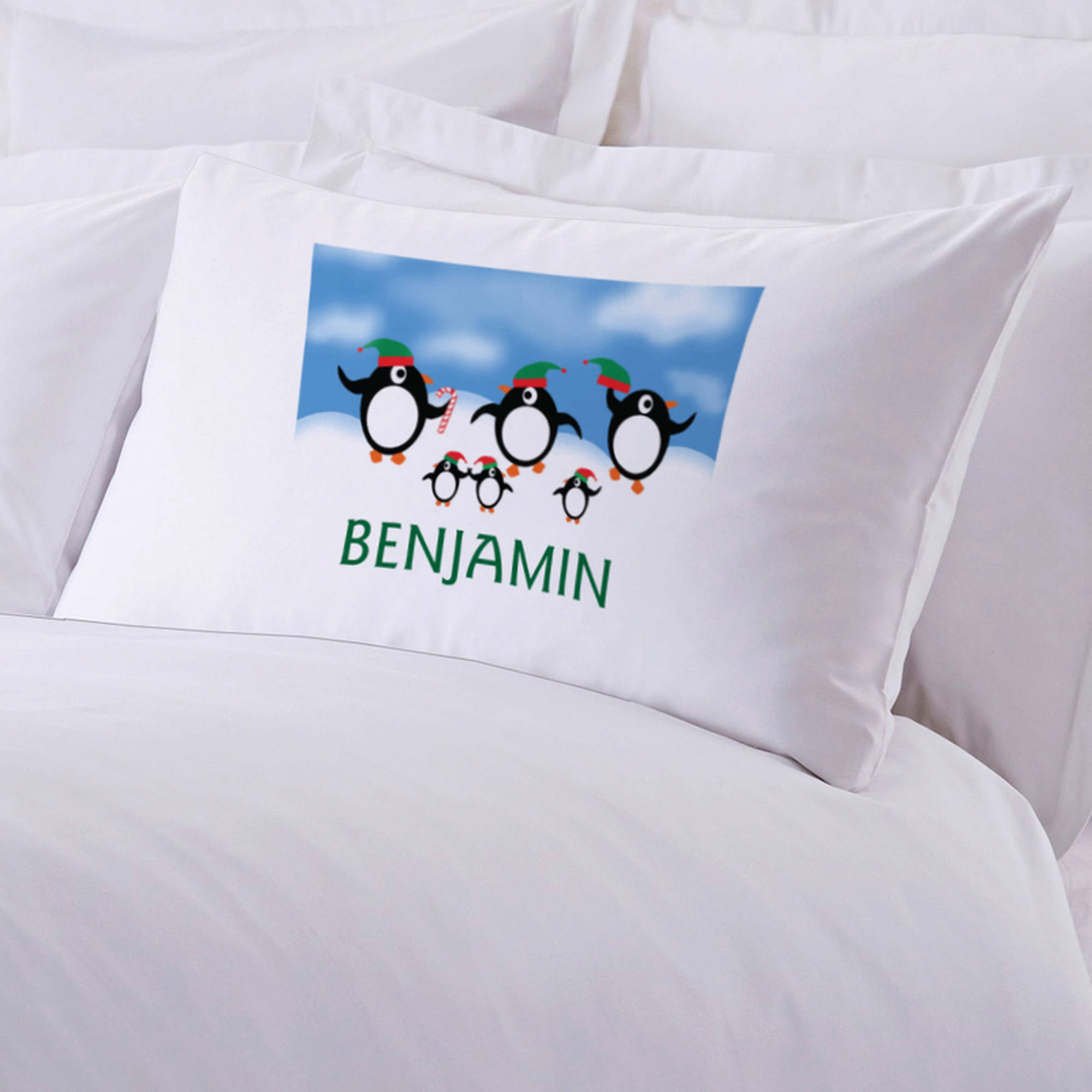 "Personalized Penguin Christmas Pillowcase, 20"" x 30"""