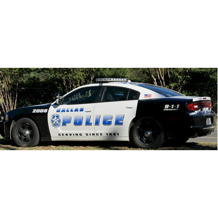Canvas Print Lightbar Vehicle Patrol Police Car Law Enforcement Stretched Canvas 10 x