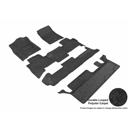 3D MAXpider 2015-2017 Chevrolet Tahoe Bench Seating Front, Second, & Third Row Set All Weather Floor Liners in Black Carpet ()