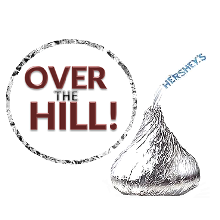 216 over the hill party favor hershey s kisses stickers labels