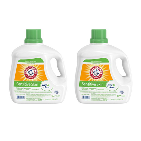 (2 pack) Arm & Hammer Sensitive Skin Free & Clear Liquid Laundry Detergent, 160.5 fl