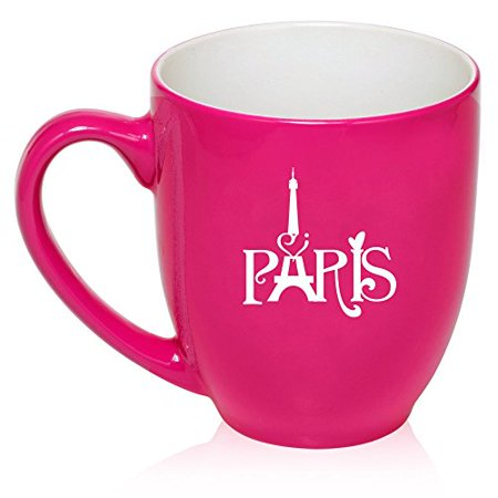 16 oz Large Bistro Mug Ceramic Coffee Tea Glass Cup Paris Eiffel Tower Heart Love (Hot Pink)