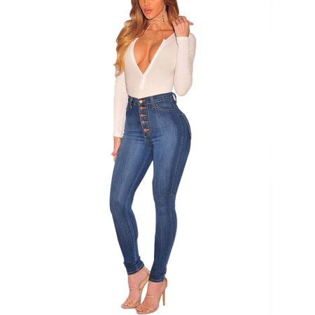 JDinms Women's Classic Button High Waist Skinny Jeans