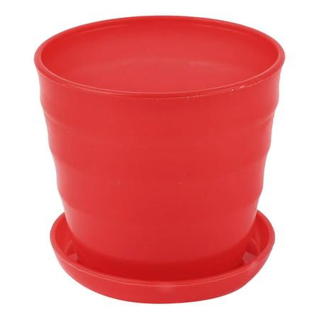Unique Bargains Plastic Red Plant Planter Flower Pot Container for Home Office 9cm -