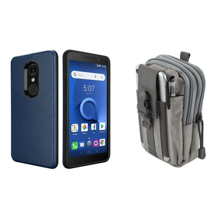 HR Textured Lines Hybrid Case (Navy Blue) with Tactical Utility Pack (Gray) and Atom Cloth for Alcatel TCL LX