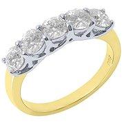 14k White & Yellow Gold 2 Carat Brilliant Round 5-Stone Diamond Ring