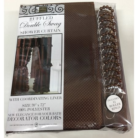 MOSAIC DOUBLE SWAG FABRIC SHOWER CURTAIN, LINER AND 12 ROLLER HOOKS, BROWN ()