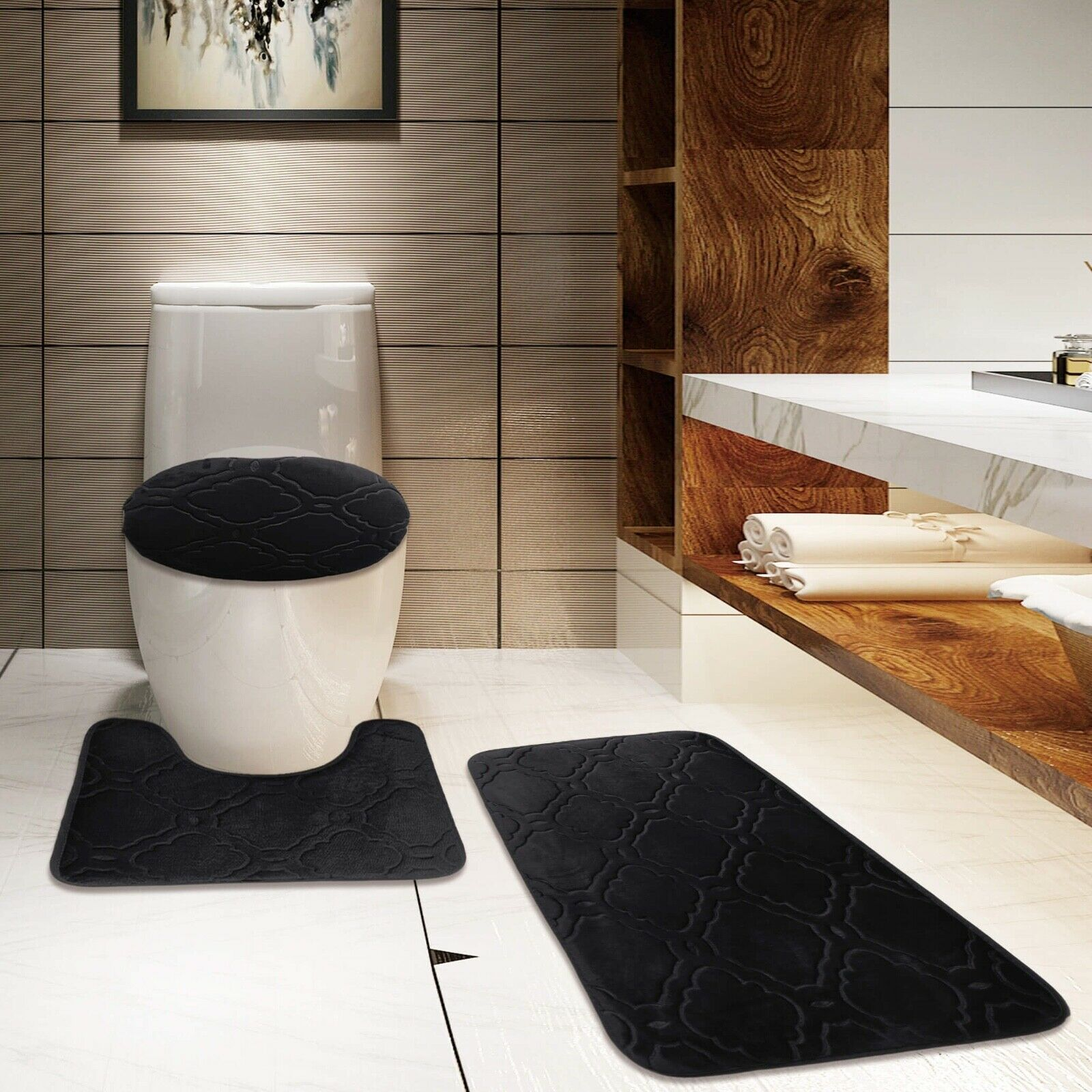 NEW BEAUTIFUL BATHROOM SET BANDED BATH MAT COUNTOUR RUG LID COVER #7 STRIPE