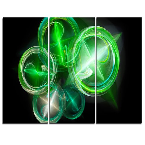 Design Art Green in Black Fractal Desktop Wallpaper - 3 Piece Graphic Art on Wrapped Canvas Set